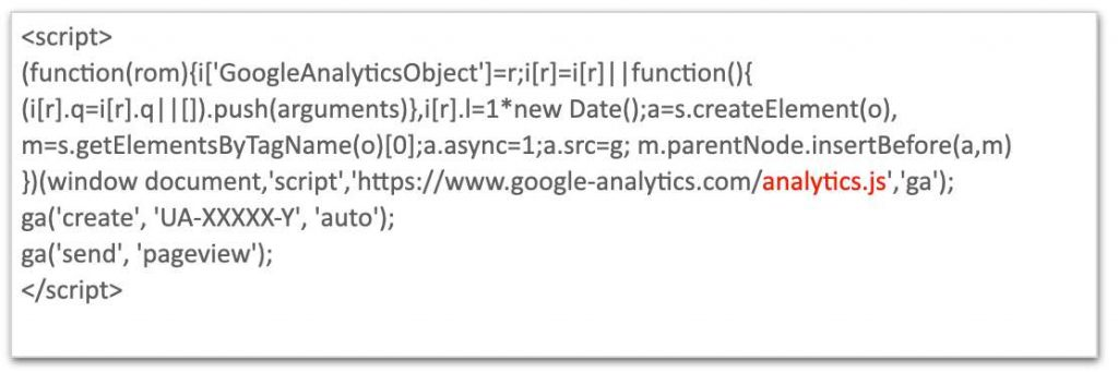 The photo shows the javascript code of Universal Analytics