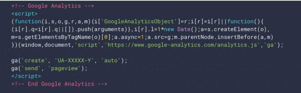 esempio di codice javacript di Google Universal Analytics