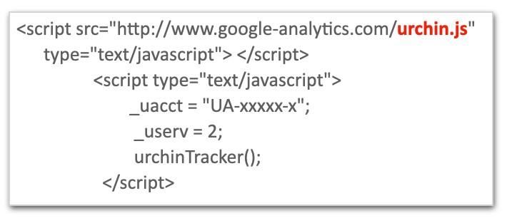 La foto mostra il codice javascript di Urchin