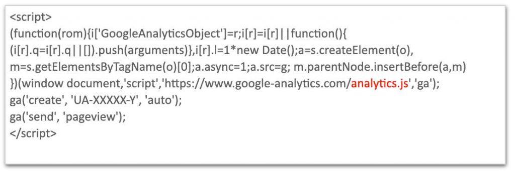 La foto mostra il codice javascript di Google Analytics 4