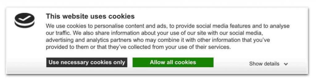 banner di esempio cookiebot